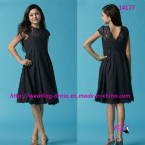 Sheer Lace Short Flower Girl Dress with V-Neckline Back pictures & photos