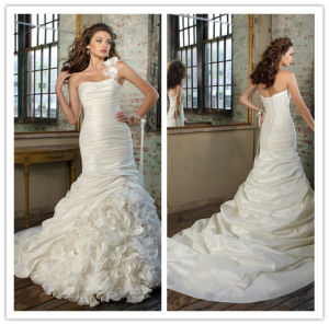 Latest Designs Full Length Mermaid Ruffles One-Shoulder Taffeta Lace up Back Sleeveless Wedding Dress 2014