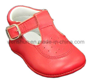 Red Color Leather Baby Shoes 05-106 pictures & photos