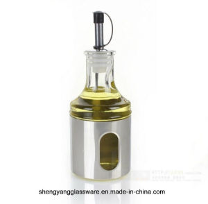 3 PC 500ml Stainless Steel Wrap Glass Oil Bottle with Lid pictures & photos