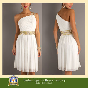White  Shoulder Dress on Fashion One Shoulder Beaded Long Or Short Grecian Evening Prom Dress