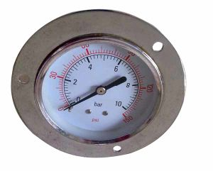 Chromed Case Pressure Gauge with Flange (B-0086)