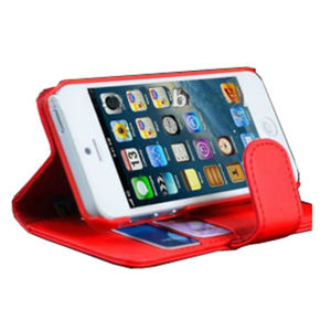 Stand Leather Case for iPhone 5, with Card Holder (LTHR-STD-IPH5)