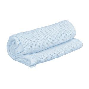 Dulex Cute Blue Solid Colour Cotton Cellular Hotel Blanket