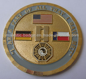 3D Gold Plating & Soft Enamel Military Coin pictures & photos