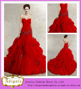 2014 New Fashion High Quality A Line Sweetheart Low Back Floor Length Ruffle Organza Skirt Beautiful Red Wedding Dresses (MN1329)