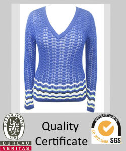 Women′s Knitted Vee Neck Stripe Pullover Sweater (STR5127)