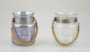 High Quality Glass Candle Holder with Jute Rope Handle pictures & photos