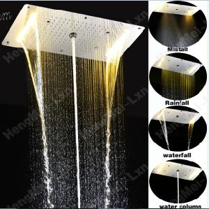 5 Function Rainfall Misty Waterfall Column SUS Overhead LED Shower