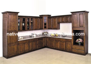 American Solid Wood Birch Kitchen Cabinet (stained birch) pictures & photos