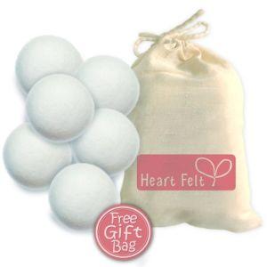 Six Wool Dryer Balls 100% Pure Organic Wool to The Core