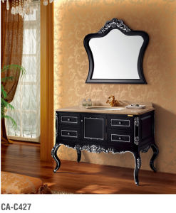Black Classical Solid Wood Bathroom Cabinet pictures & photos