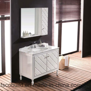 Floor Mounted Bathroom Vanity Cabinet with Marble Top (K-1025)