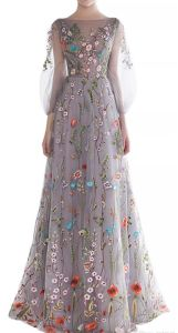 A-Line Flora Evening Dress Puffy Long Sleeves Embroidery Prom Gowns Lb1836 pictures & photos