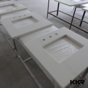 White Solid Surface Bathroom Countertop for Hotel pictures & photos
