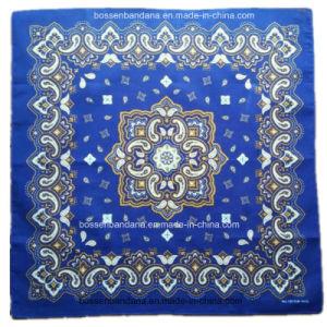 Factory Produce Custom Print Cotton Blue Paisley Square Bandanna pictures & photos