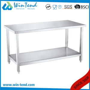 Kitchen Equipment Multifunction Industrial Kitchen Work Table with Adjustable Round Tube Leg and Reinforcing Bar pictures & photos
