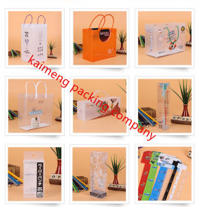 Top Quality UV Printed Clear Plastic Gift Bags Folding Design (plastic gift bags)