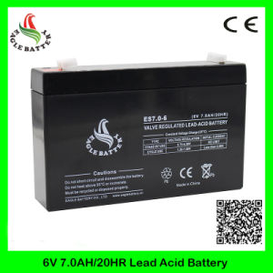 6V 7ah Rechargeable Mf Lead Acid Battery for Alarm System