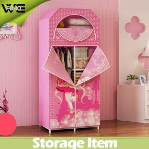3 Doors Furniture Pink Cartoon Kids Canvas Wardrobe pictures & photos