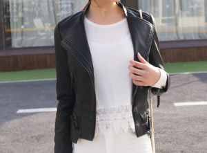 Fashion Cultivate One′s Morality Fake Leather Shorts Jacket Puj0715 pictures & photos