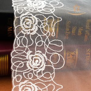 Jacquard Lace Fabric Mesh Fabric for Clothing Ivory 3D Flower Rayon Lace Fabric pictures & photos