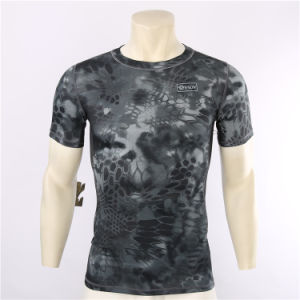 2017 Wholesale Black Python Cheaper Camouflage Quick-Drying T-Shirt pictures & photos