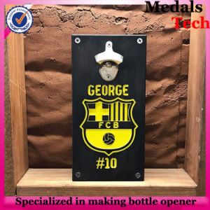 Zinc Alloy Wall Mounted Beer Bottle Opener with Solid Wood Cap Holder pictures & photos