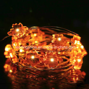 Maple Leaf Dimmable LED String Lights Copper Wire Orange Fairy Light pictures & photos