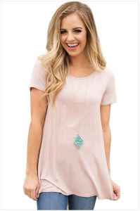 Twist Cutout Back Casual Womens T-Shirt pictures & photos