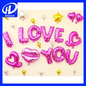 "Heart Shape ""I Love You"" Foil Balloons, Mini Shape Foil Balloons, Stick Foil Balloons pictures & photos"