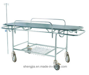Sjm014 Stainless-Steel Stretcher Cart with Four Castors