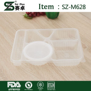 Disposable 6 Compartment Plastic Food Container with Cover pictures & photos