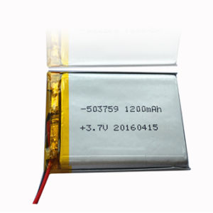 1200mAh 3.7V 5X37X59mm Rechargeable Li-Polymer Battery Cell with PCM pictures & photos