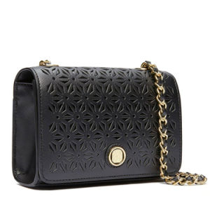 Black Taiga Perforated Mini Chain Shoulder Bag for Women