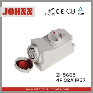 IP67 4p 32A High Quality Industrial Socket with Switches and Mechanical Interlock pictures & photos