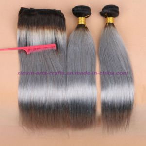 8A Silver Grey Ombre Human Hair Extensions Grey Straight Hair Two Tone Ombre Virgin Grey Peruvian Hair Weft pictures & photos