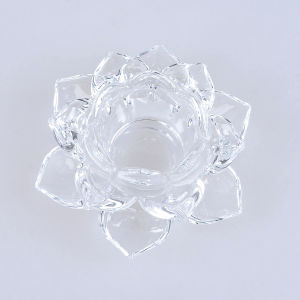Clear Lotus Crystal Glass Candle Holders for Religious pictures & photos