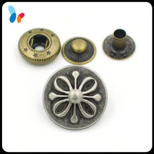 20mm Flower Design Vintage Anti-Silver Alloy Metal Press Fastener Spring Snap Button pictures & photos