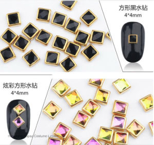 Jet Black Square 4*4mm Ring Strass Hotfix Rim Rhinestone Nail Art (HF-Square 4*4mm) pictures & photos