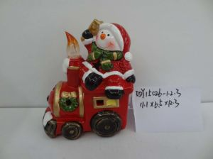 Ceramic Christmas Ornaments Santa with Train Design Candle pictures & photos