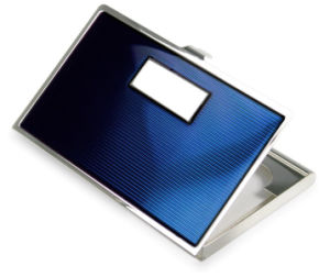 Business Gifts Silver Plated Blue Color Enamal Card Case pictures & photos