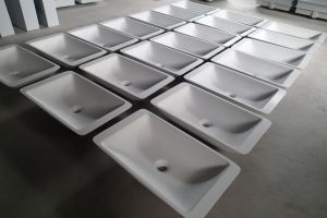 Acrylic Stone Solid Surface Small Sizes Above Counter Top Bathroom Basin pictures & photos