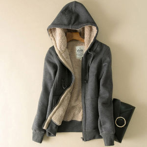 100% Polyester Ladies Berber Lined Lady Zip Hooded Hoodie Sweat Shirt pictures & photos
