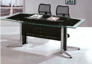 Rectangle Metal Leg Tempered Glass Conference Meeting Table /Desk (HX-GL058) pictures & photos