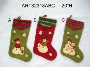 Snowman Stocking with Knitted Cuffs-Christmas Decoration pictures & photos
