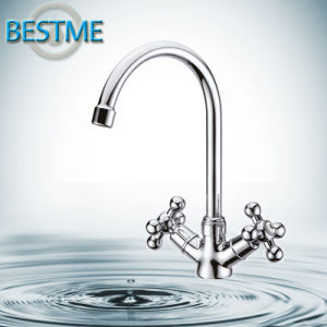 Doubel Handle Hot and Cold Brass Kitchen Faucet pictures & photos
