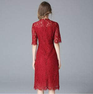 Fashion Latest Red Lace Charming Women′s Dress pictures & photos