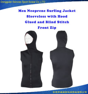 Men Super Stretch Fabric Sleeveless Surfing Jacket Wetsuit with Hood