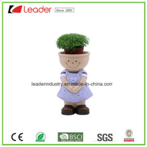 Decorative Polyresin Kid Boy Figurine Flowerpots for Home Decoration pictures & photos